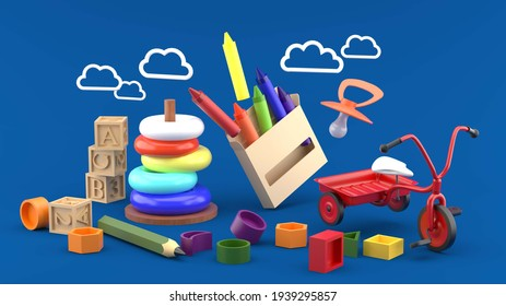Crayons are surrounded by children's bicycles, wooden toys, pencils and clouds on a blue background.-3d rendering.