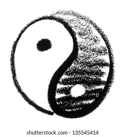 crayon-sketched Yin and Yang symbol
