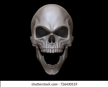 Crazy angry screaming skull - 3D Illustration