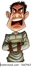 crazy boy very angry wearing with a straitjacket
