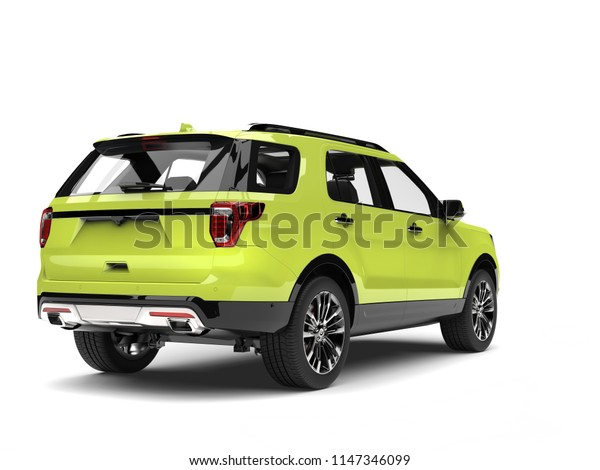 Crazy green modern SUV car - back view - 3D Illustration