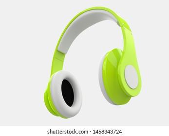 Crazy green modern wireless headphones - 3D Illustration