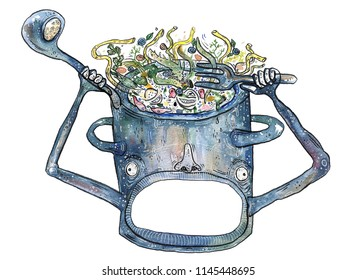 crazy pan with soup on white background