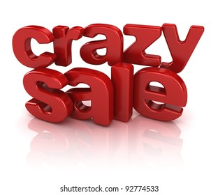 crazy sale 3d isolated over white background