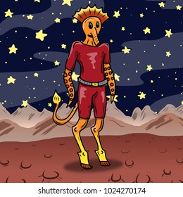 Crazy strange space alien or monster on a strange planet. Original colored illustration