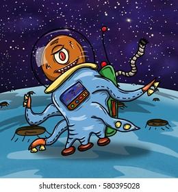 Crazy strange space alien or monster on a blue planet, asteroid