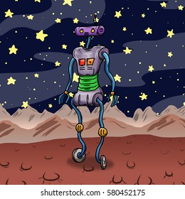 Crazy strange space alien or robot on an alien planet, asteroid or moon. Original colored illustration