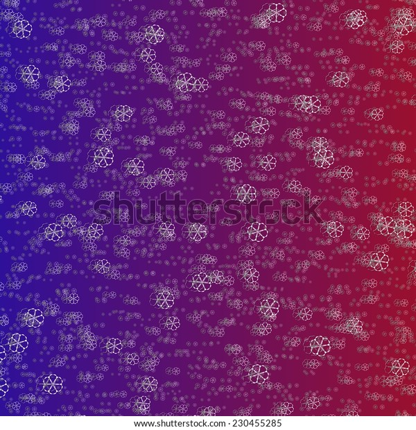 Crazy white snowflakes on red blue gradient background