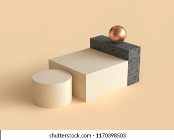 cream black geometric shape gold sphere 3d rendering