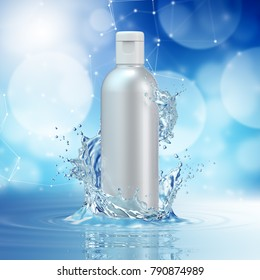 Cream bottle mock up in water splash on blue bokeh background. 3D illustration
