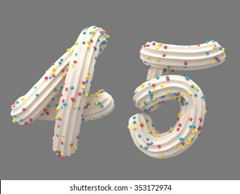 Cream candy four five number font