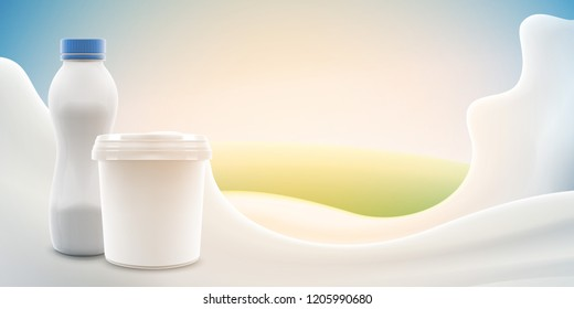 Cream or yogurt ads with blank jar and bottle on bright background with milk splash commercial yogurt product mock-up realistic illustration. Bitmap copy