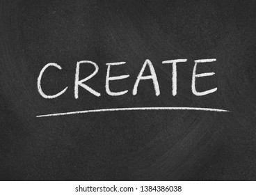 create concept word on a blackboard background
