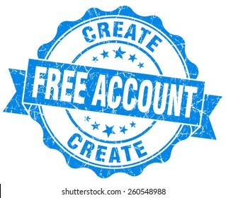 create free account blue vintage isolated seal