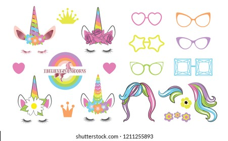 Create your own unicorn - big collection. Unicorn constructor.
