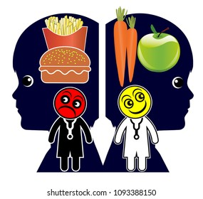 Creating healthy eating habits. Doctors teach children about dietary patterns and eating behavior