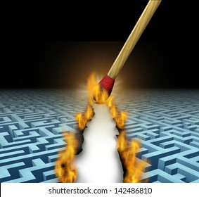Creating new opportunities with innovative solutions and trail blazing or trailblazing business concept with a lit wooden match opening a clear road through a maze or labyrinth by burning path.