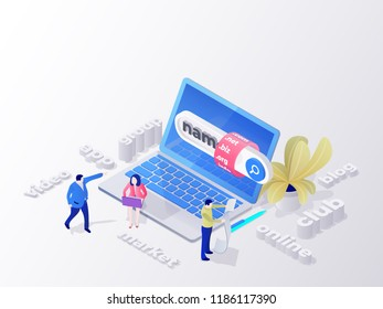 Creating a personal site. Find and buy a domain name. Page design templates for hosting company, digital marketing, business planning. People choose a domain name for the site. Bitmap image