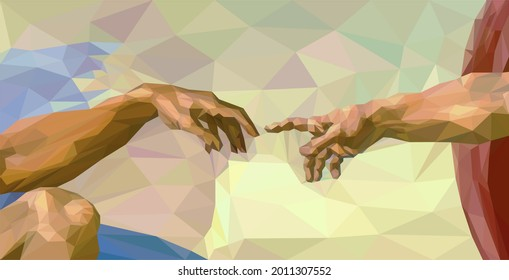 Creation of Adam fragment of Sistine Chapel in Low Poly Style. Gods Touch by Michelangelo reproduction. Conceptual Polygonal Illustration