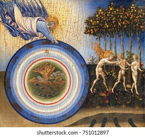 CREATION OF THE WORLD AND EXPULSION FROM PARADISE, by Giovanni di Paolo, 1445, Renaissance painting. The universe is shown as concentric circles, with the earth at the center surrounded by orbits of t