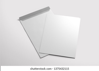 Creative 3d rendering corporate identity white blank paper envelopes template set isolated on white background.