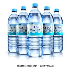 Creative abstract 3D render illustration of the group of five plastic bottles with clear purified drink carbonated water isolated on white background with reflection effect