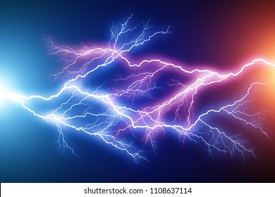 Creative abstract 3D render illustration of the blue and red lightning arc hit strike electric discharge light effect on dark black background