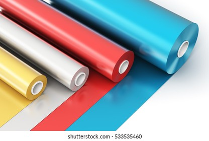 Creative abstract 3D render illustration of the rolls of color PVC polythene plastic tape or foil isolated on white background