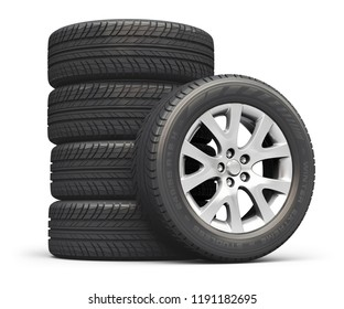Creative abstract auto industry, service and maintenance repair business technology automotive concept: 3D render illustration of the set of car wheels isolated on white background