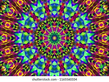 Creative abstract background. Color mandala floral style. Raster illustration. For the textile, carpet ornaments patterns Persian relief. Art graphics. .