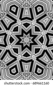 Creative abstract background. Raster illustration. black and white flower . Illustration of a kaleidoscope geometric pattern.