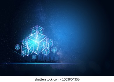 Creative, abstract background, technology blockchain, ultraviolet background. The concept of cryptography, electronic money, Internet protection. Copy space.