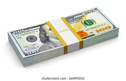 Creative abstract business, financial success and making money concept: stack of new 100 US dollar 2013 edition banknotes or bills isolated on white background