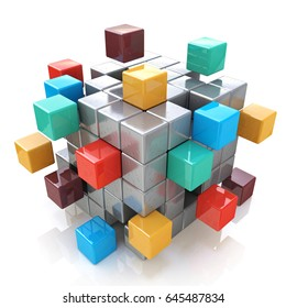 Creative abstract business teamwork, internet and communication concept: colorful cubic structure with assembling metallic cubes on white background. 3d illustration