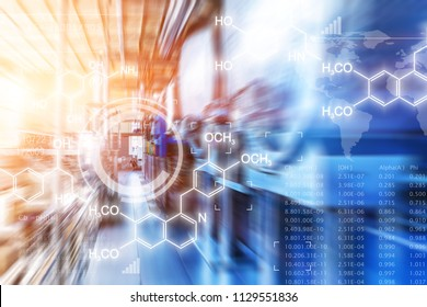 Creative abstract chemical scientific background illustration with chemistry formula and atom structure against chemical factory plant interior with industrial manufacturing equipment with motion blur