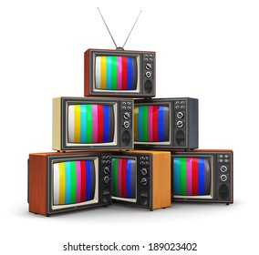 Creative abstract communication media and television business concept: stack or pile of old retro color wooden home TV receiver sets with antenna isolated on white background