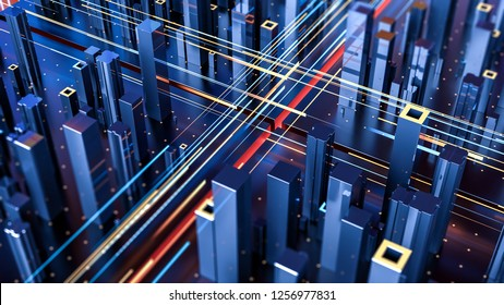 Creative abstract concept of technology and connection with city digital skyscrappers and traffic. 3d illustration.