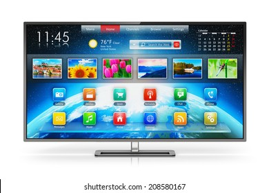 Creative abstract digital multimedia entertainment and media television broadcasting internet business concept: smart TV display screen with color web interface isolated on white background
