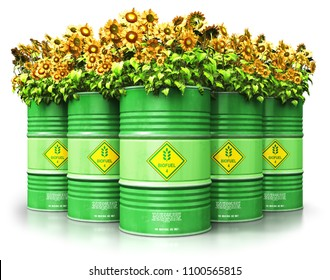 Creative abstract ecology, alternative sustainable energy and environment protection saving business concept: 3D render of the group of green metal biofuel drums or biodiesel barrels with sunflowers