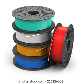 Creative abstract electricity and technology engineering industrial business concept: plastic spools with color electric copper power cables isolated on white background