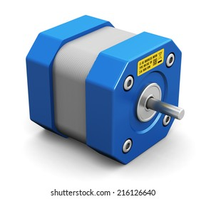 Creative abstract electronics and industrial engineering technology concept: small metal electric motor isolated on white background