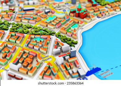 Creative abstract GPS satellite navigation, travel, tourism and location route planning business concept: macro view of miniature color city map with 3D buildings