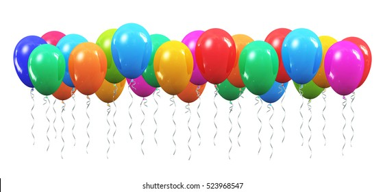 Creative abstract holiday celebration concept; 3D render illustration of color shiny transparent rubber inflatable air balloons or balls isolated on white background