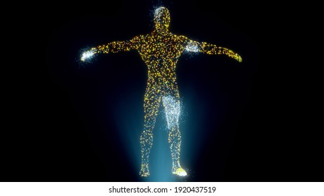 Creative Abstract Human Body Scanning Hologram. High quality photo