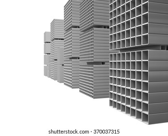 Creative abstract illustration: many shiny steel pipes isolated on white, industrial three-dimensional image illustration. Warehouse metal square tubes.