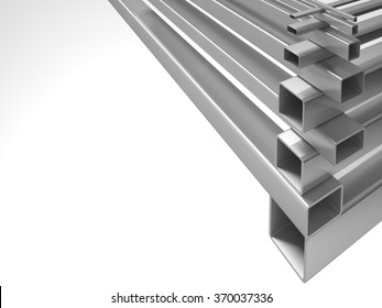 Creative abstract illustration: many shiny steel pipes, industrial three-dimensional image, illustration. A set of tubes stacked in layers, great for business cards, billboards, and other advertising.