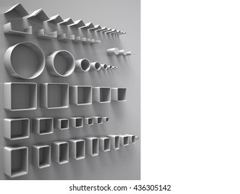 Creative abstract illustration: many shiny steel pipes, industrial three-dimensional image, illustration.3D rendering