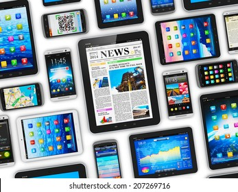 Creative abstract mobility and digital wireless communication technology business concept: group of tablet computer PC and modern touchscreen smartphones or mobile phones isolated on white background
