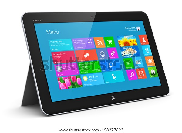 Creative abstract mobility and wireless communication business office internet web concept: tablet computer PC with color touchscreen interface with colorful icons isolated on white background