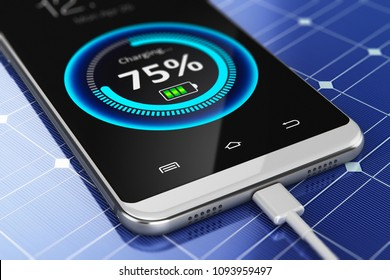 Creative abstract modern wireless technology business concept: 3D render illustration of the macro view of smartphone or mobile phone charging with a portable solar power battery panel